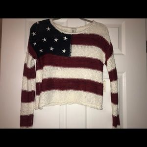 Knit American flag sweater